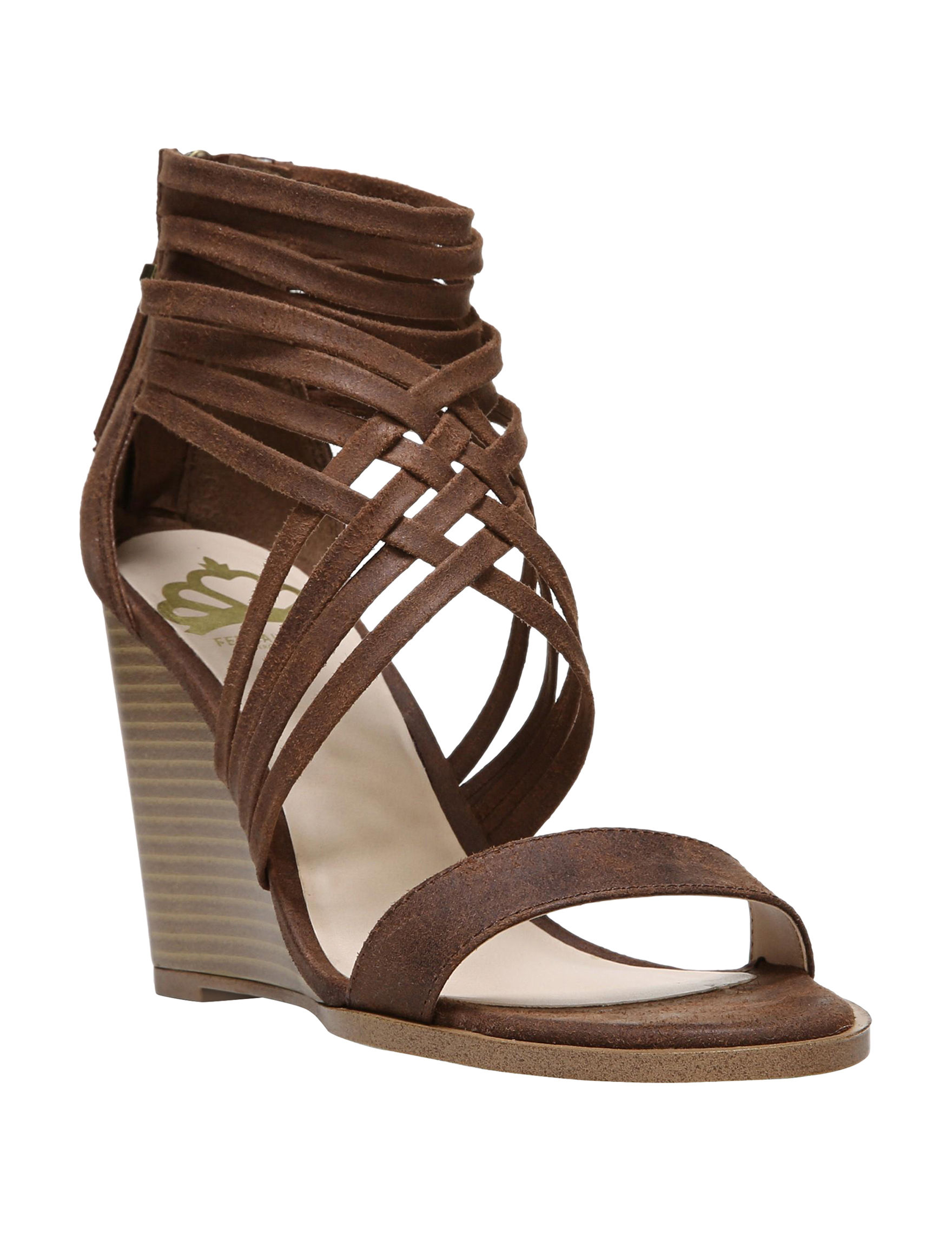 Fergie Tan Wedge Sandals