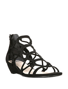 Fergalicious by Fergie Black Flat Sandals Gladiators