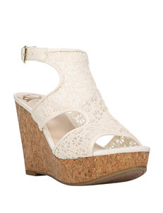 Fergie Ivory Wedge Sandals