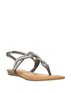 Fergalicious by Fergie Charcoal Flat Sandals