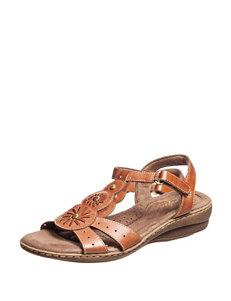 Natural Soul Tan Flat Sandals
