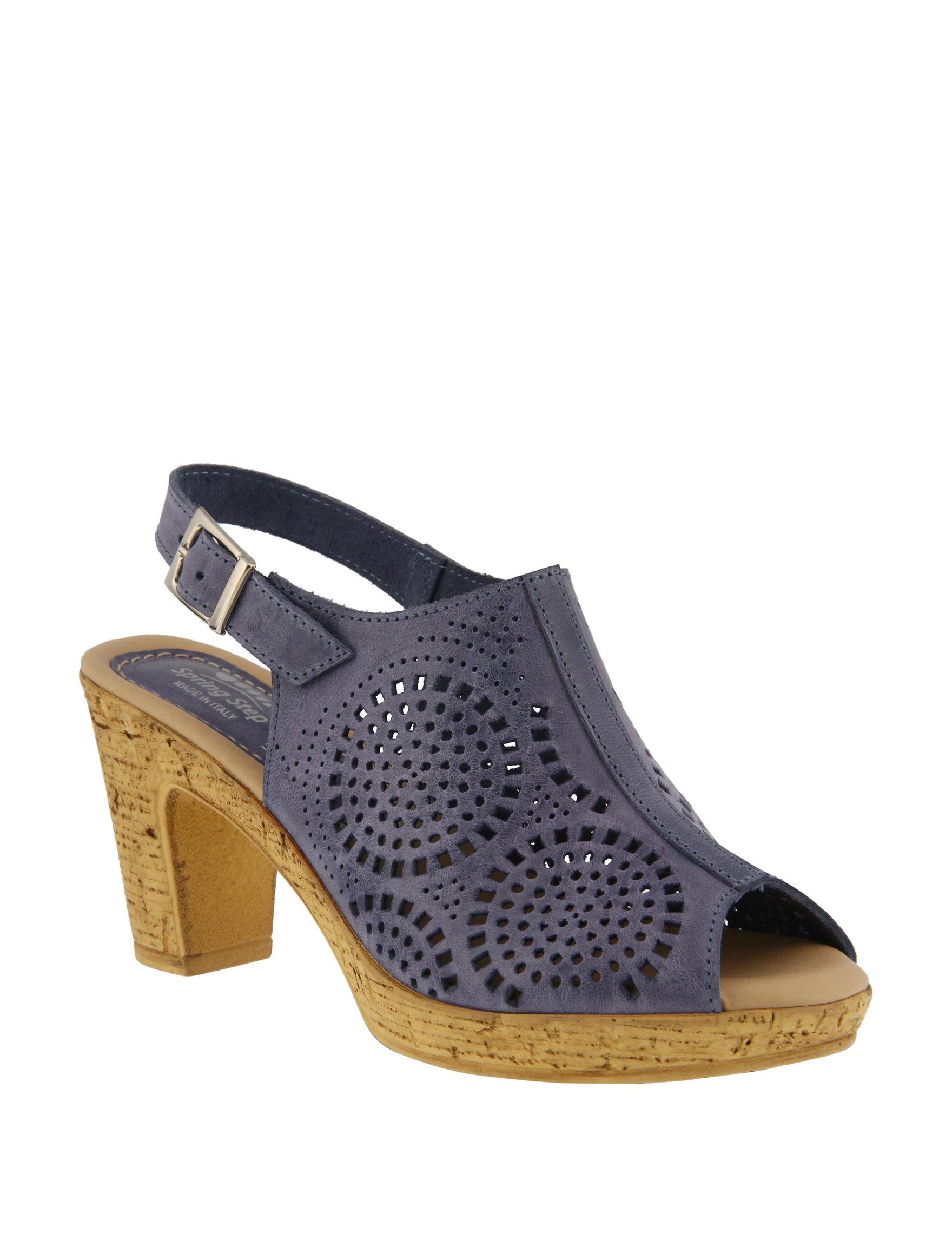 Spring Step Blue Heeled Sandals