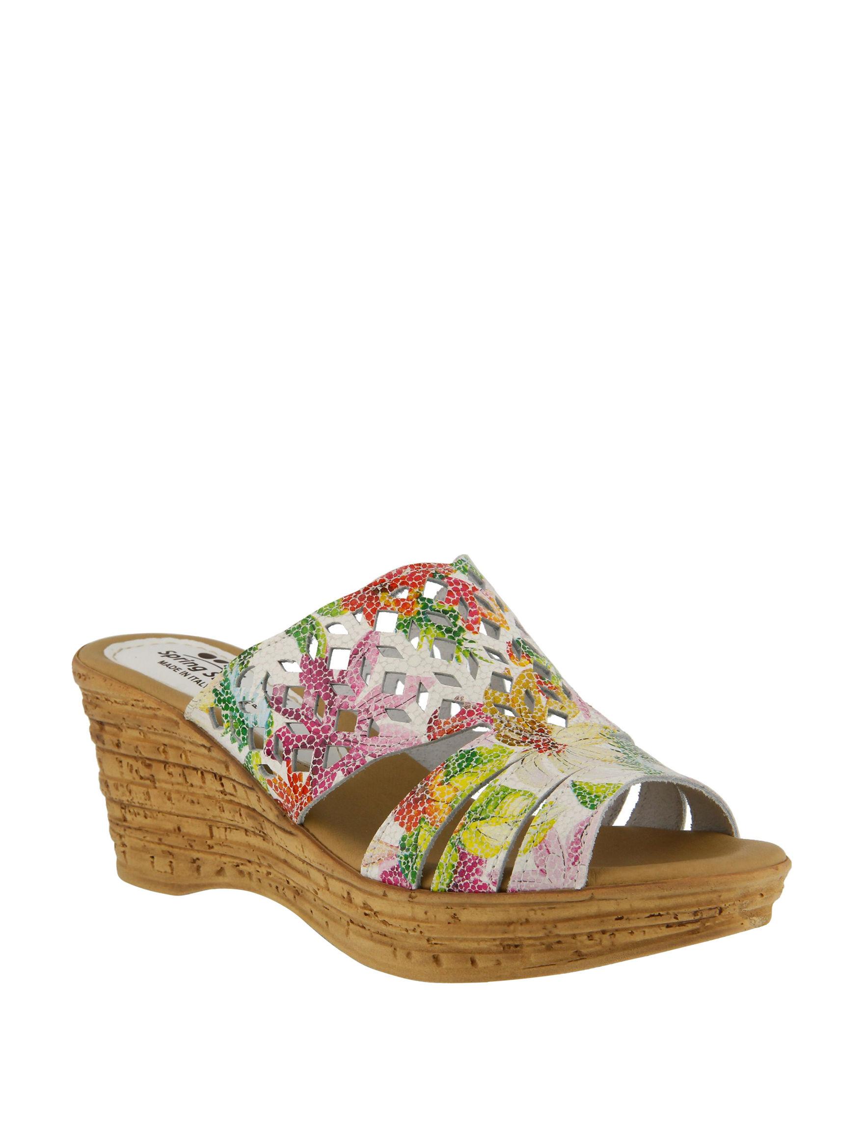Spring Step White Multi Wedge Sandals