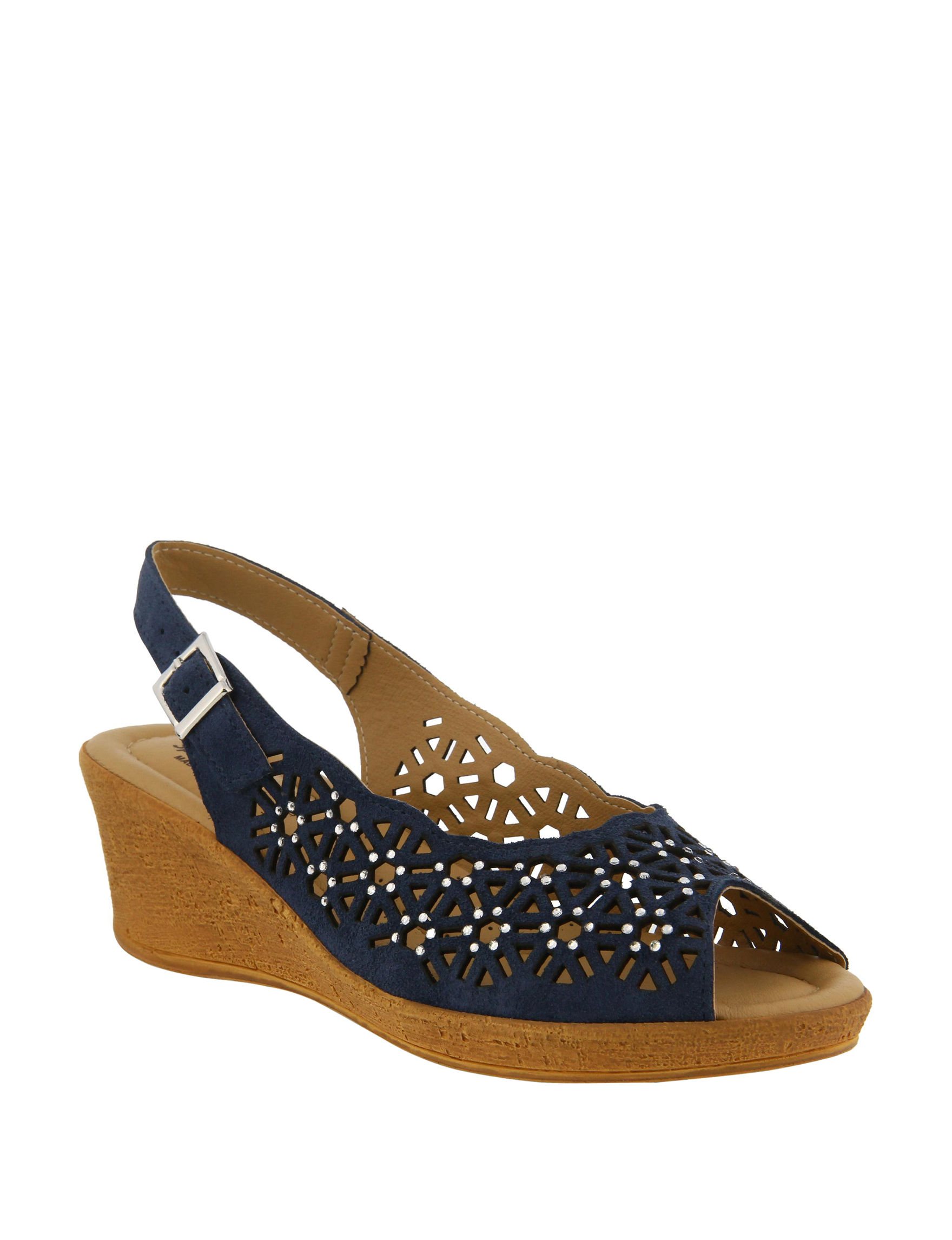 Spring Step Navy Wedge Sandals