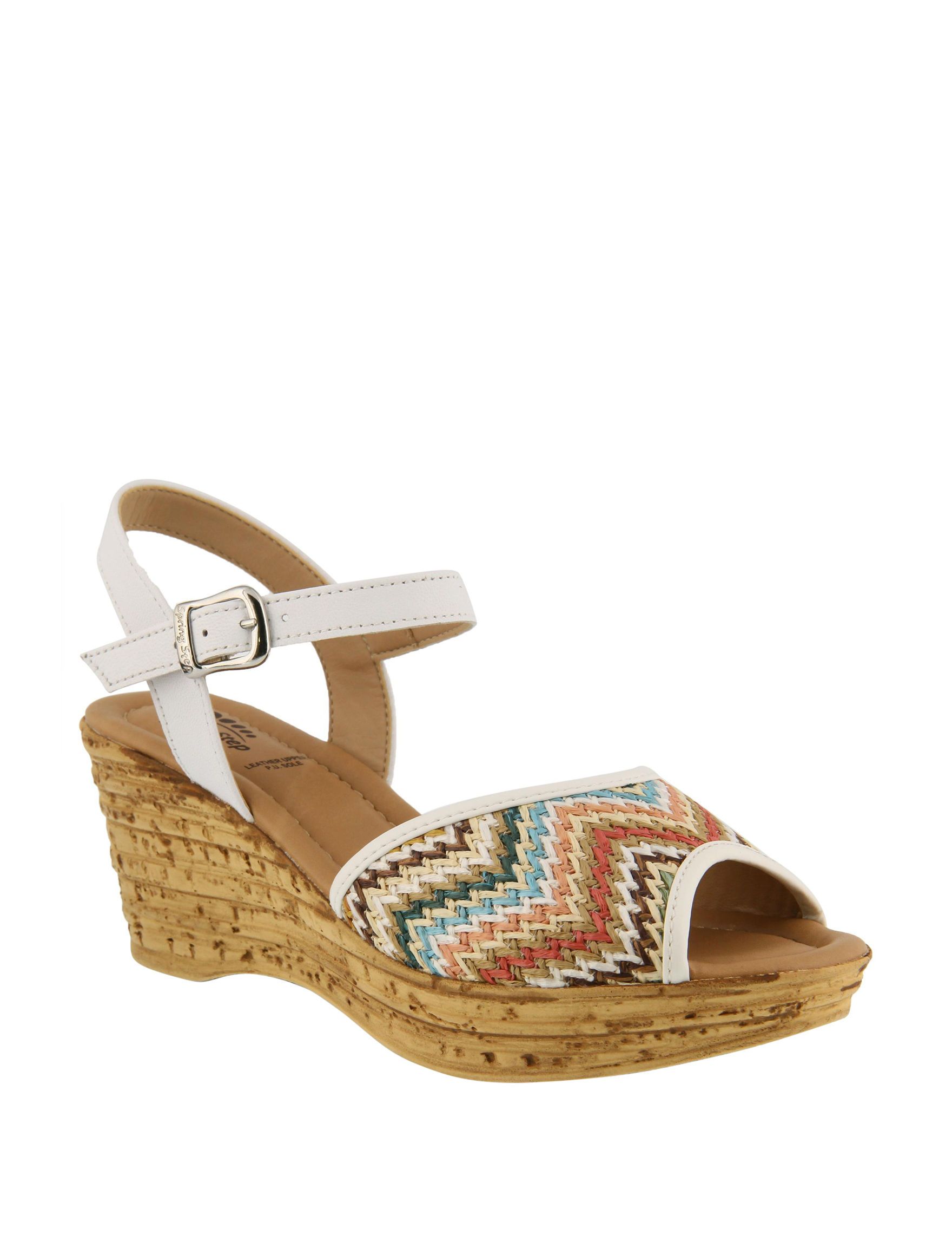 Spring Step White Multi Wedge Sandals