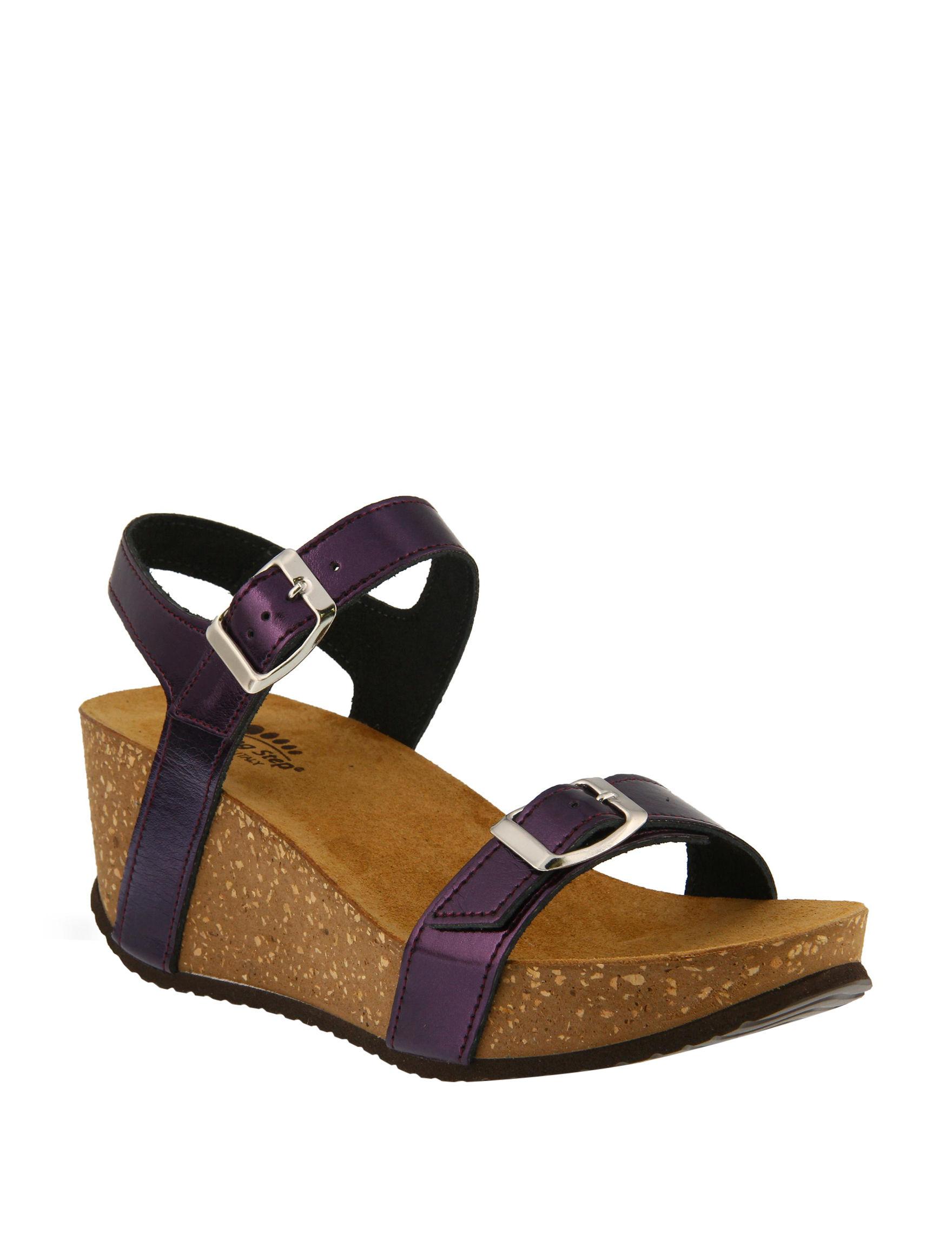 Spring Step Plum Wedge Sandals
