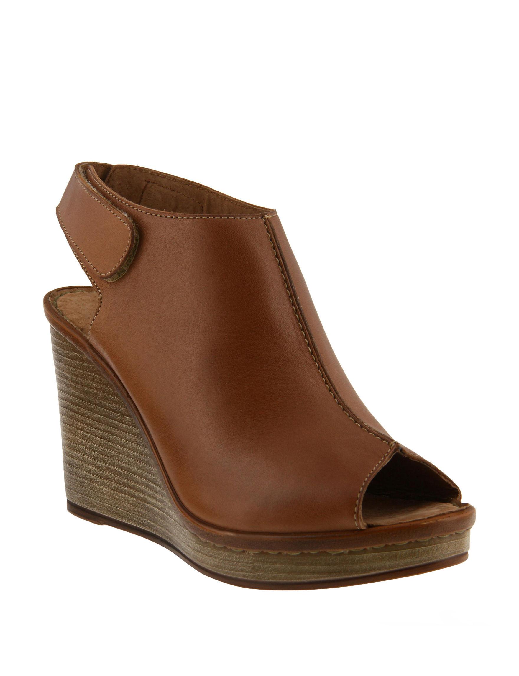 Spring Step Brown Wedge Sandals
