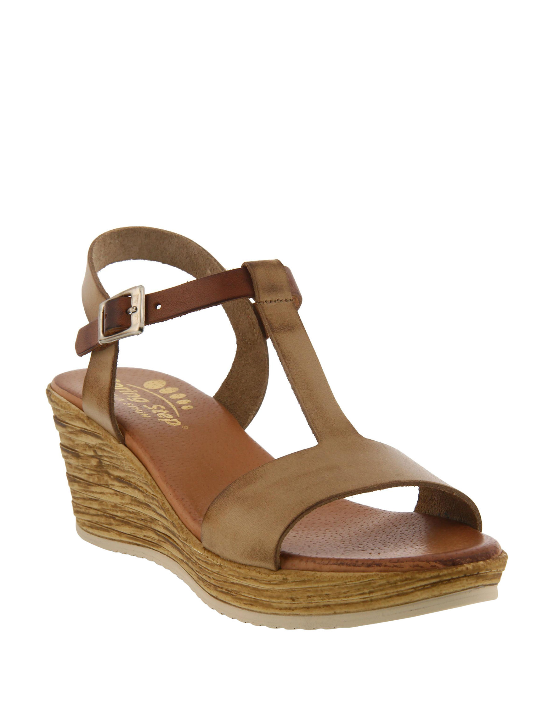 Spring Step Taupe Wedge Sandals