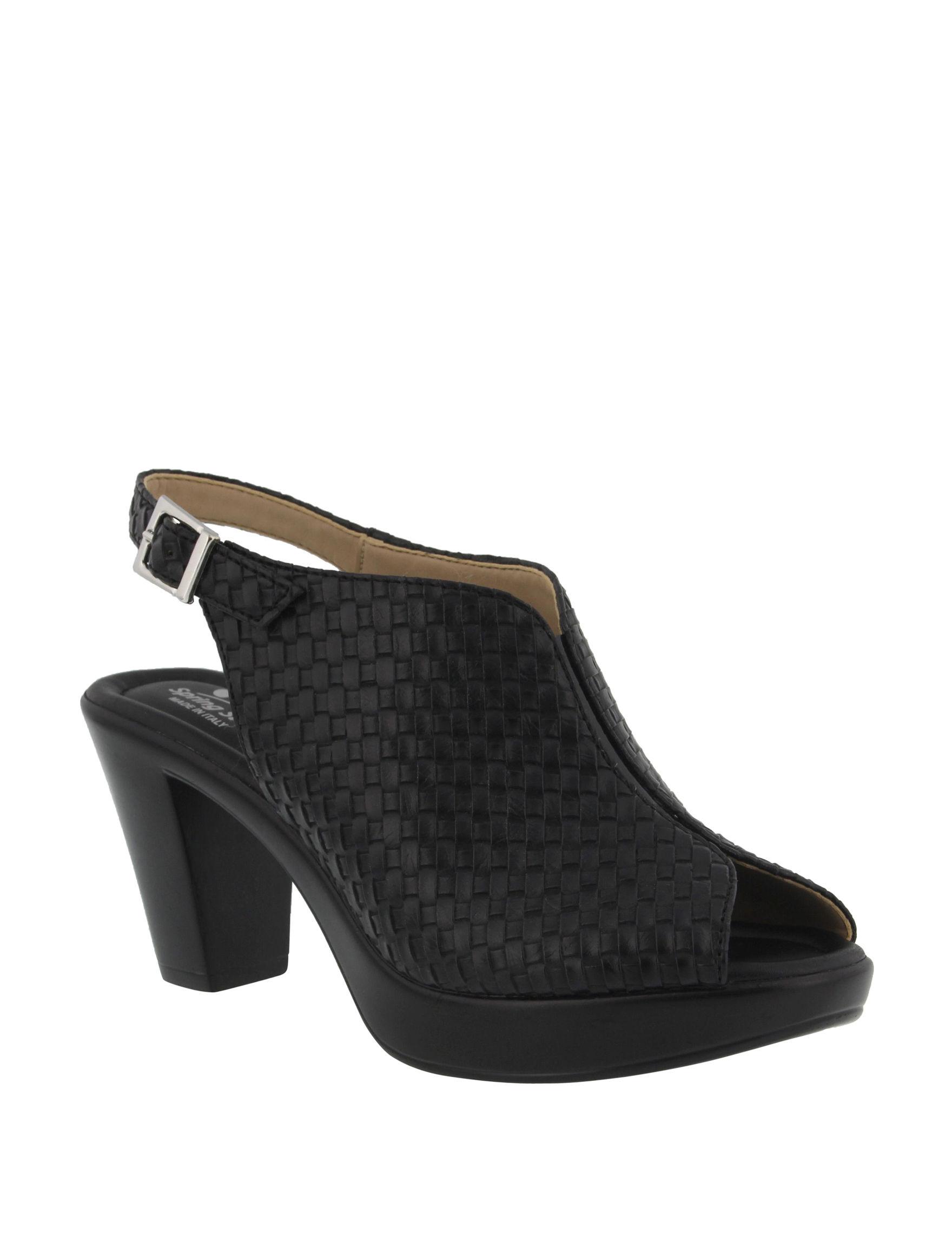 Spring Step Black Heeled Sandals