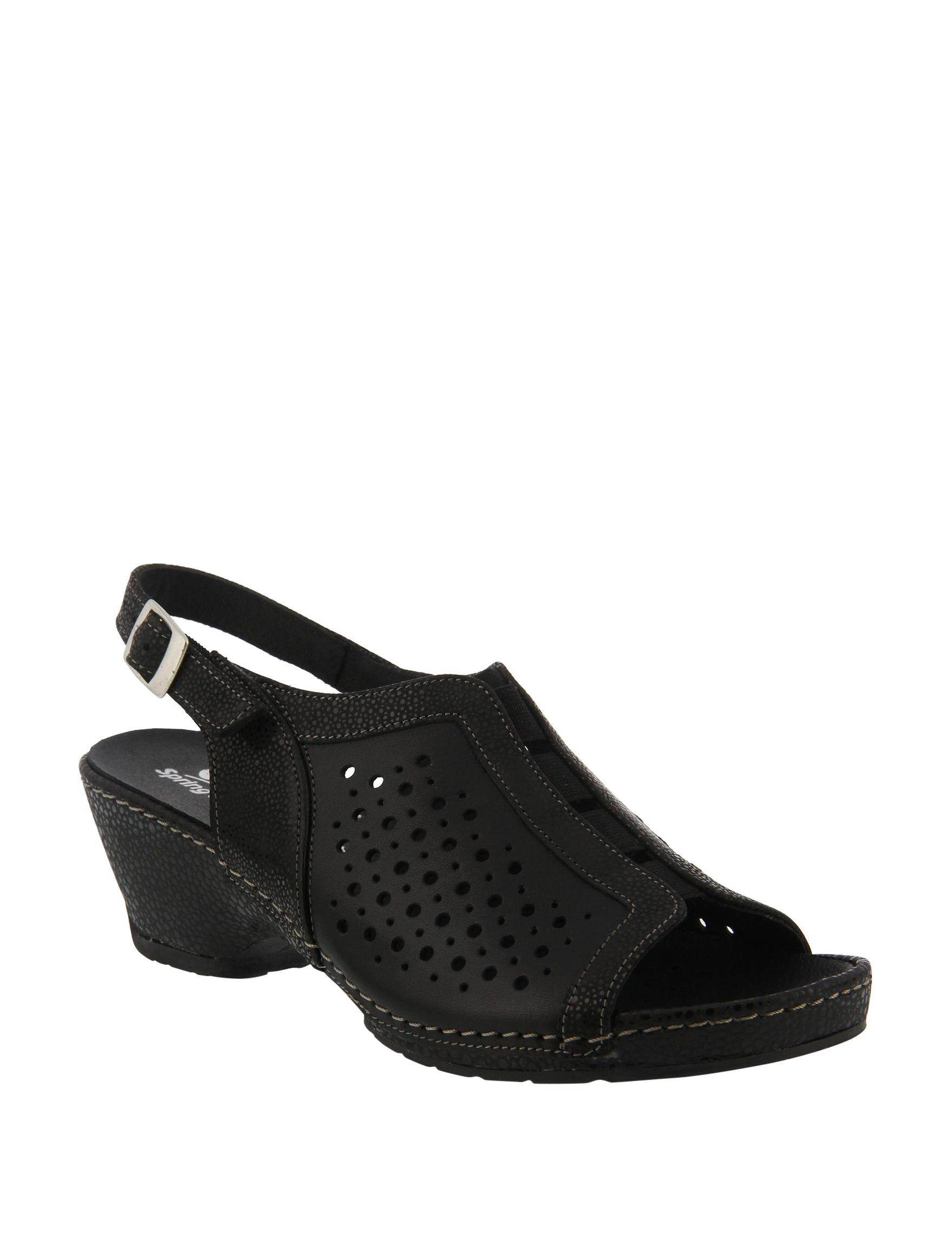 Spring Step Black Multi Heeled Sandals