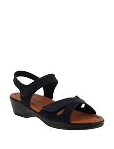 Flexus Navy Heeled Sandals
