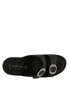 Flexus Black Heeled Sandals