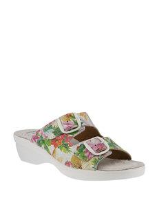 Flexus White Multi Heeled Sandals Comfort