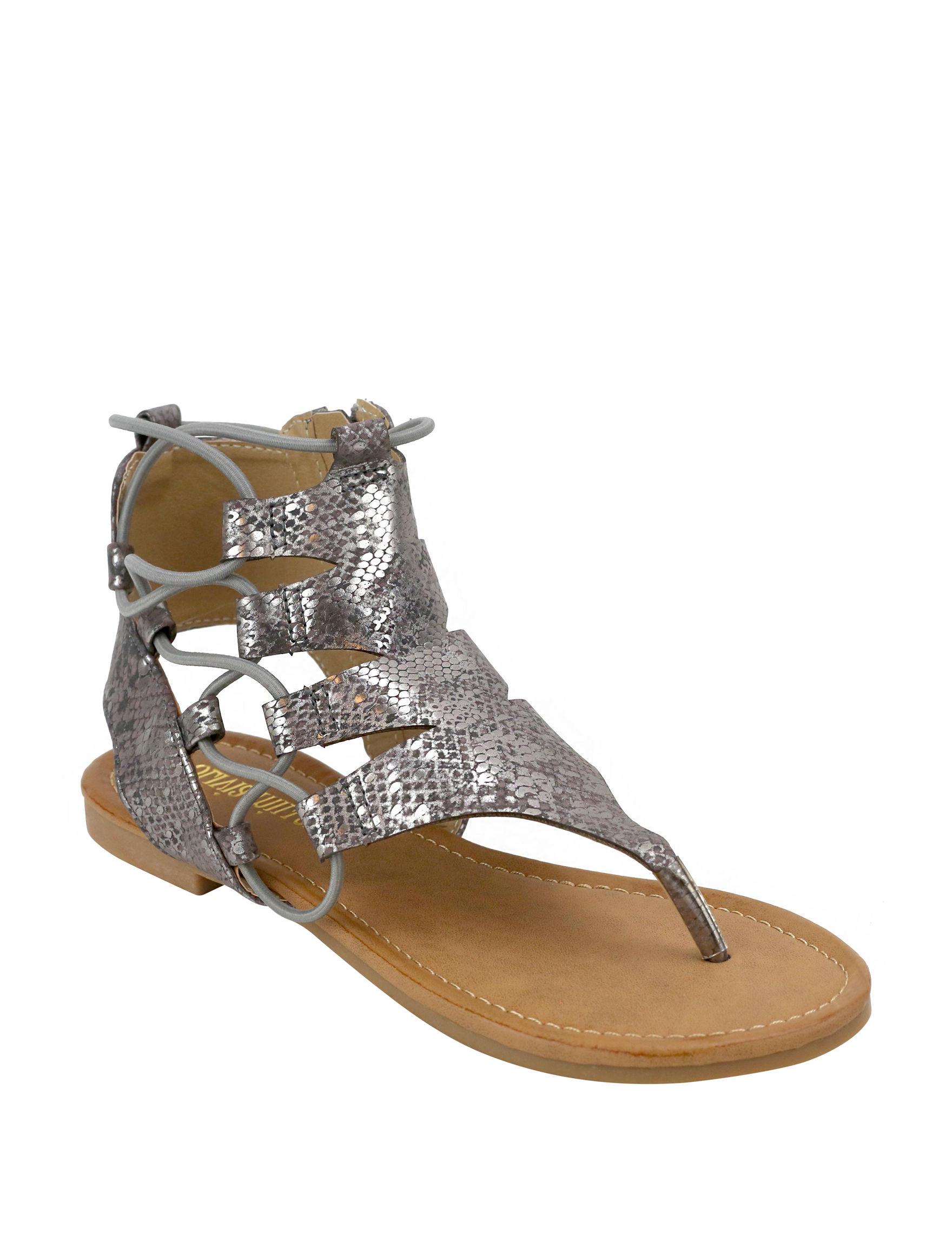 Olivia Miller Black Flat Sandals Gladiators