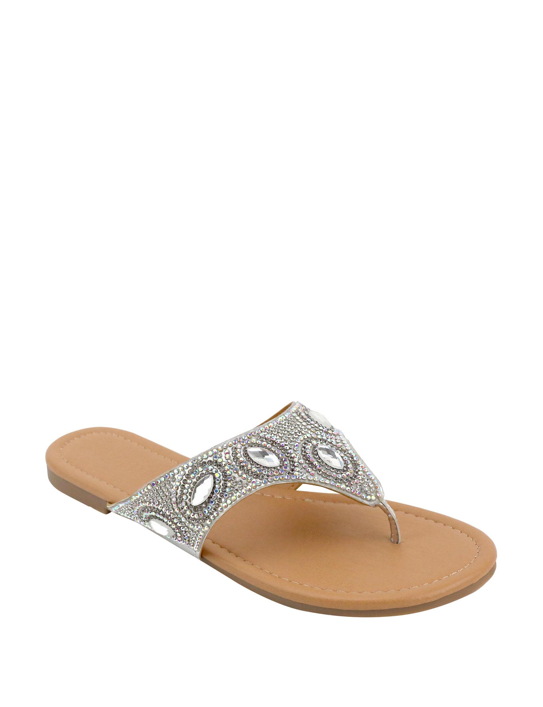 Olivia Miller Silver Flat Sandals
