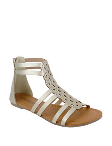 Olivia Miller Gold Flat Sandals Gladiators