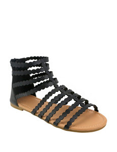 Olivia Miller Black Flat Sandals Gladiators
