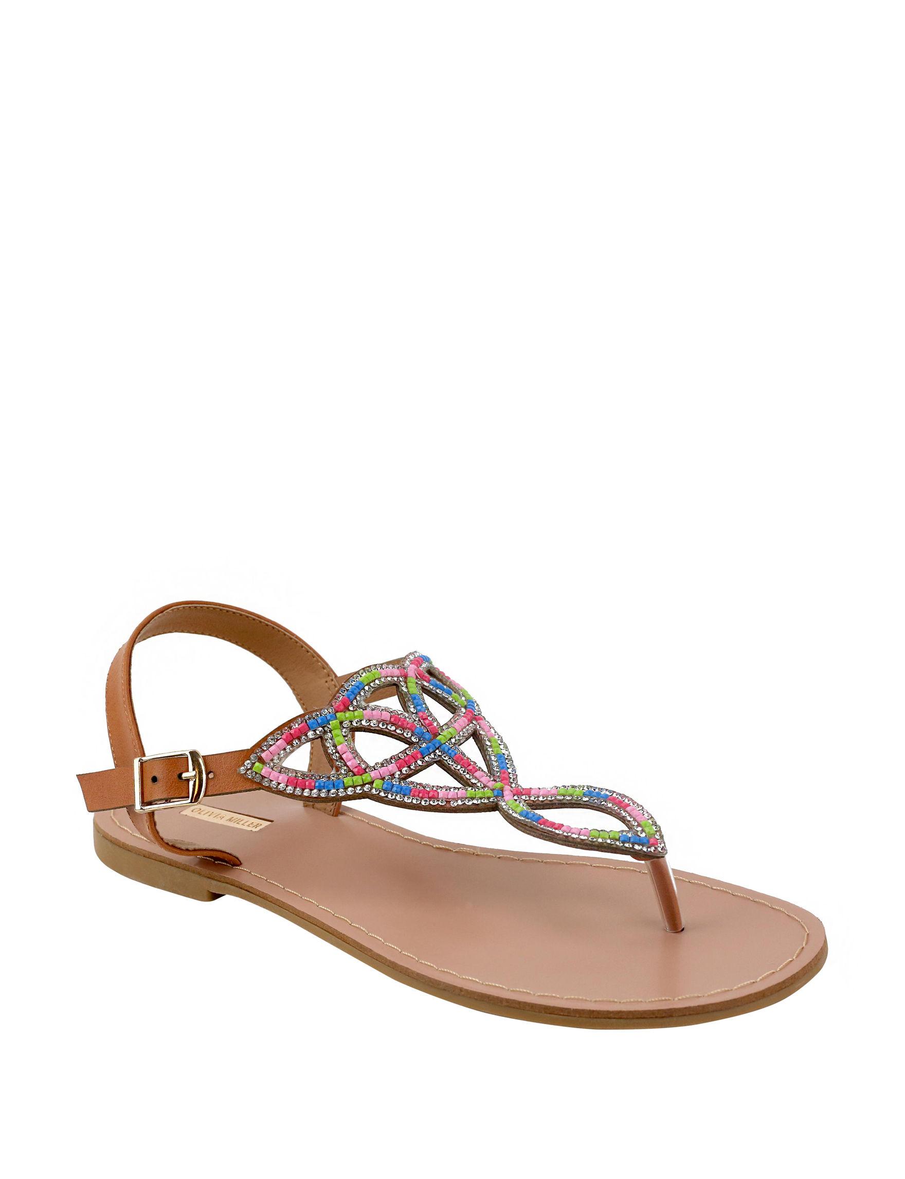 Olivia Miller Black Multi Flat Sandals