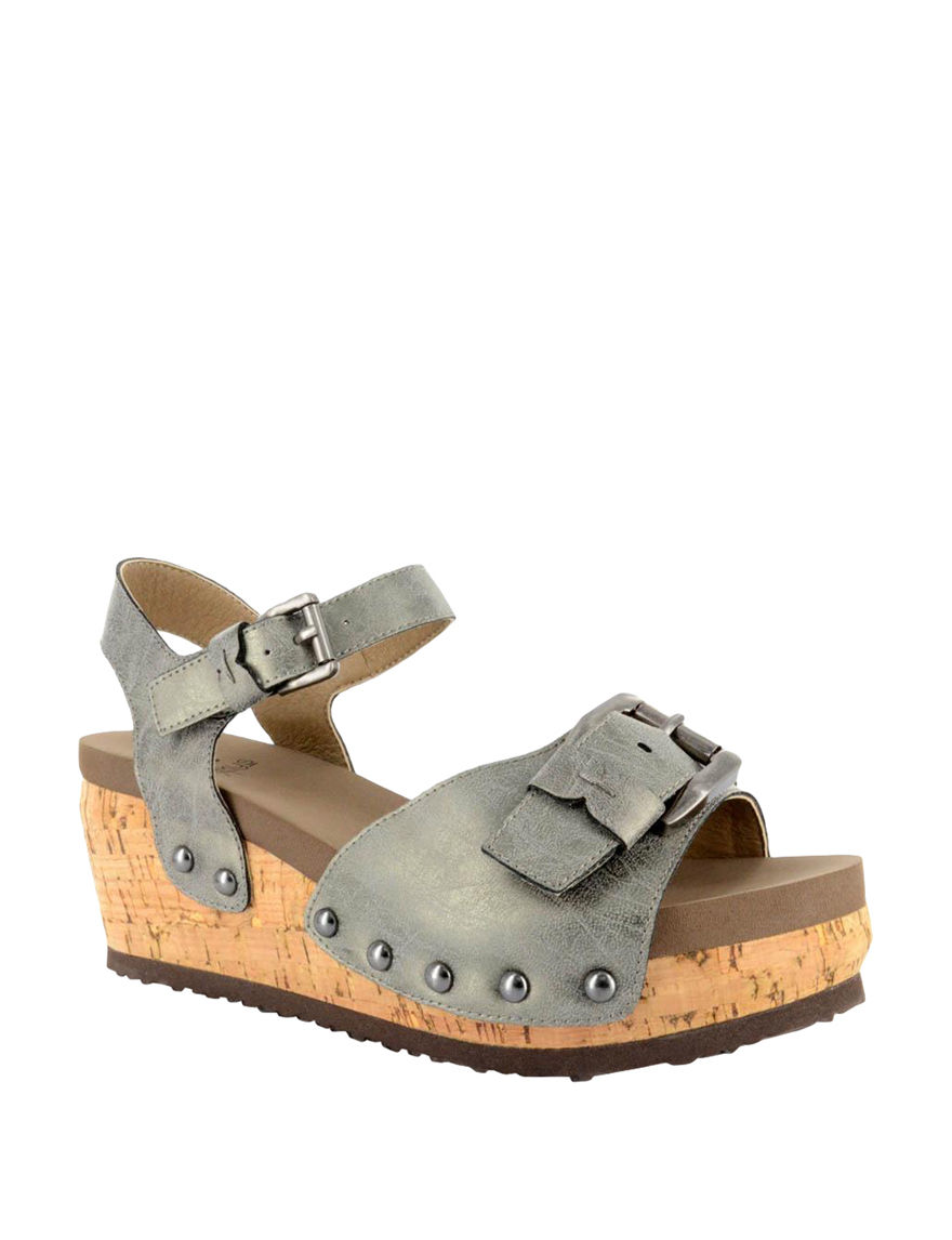 Corkys Grey Wedge Sandals