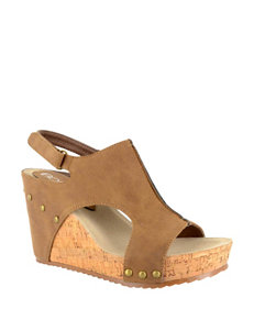Corkys Tan Wedge Sandals