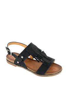 Corkys Black Flat Sandals