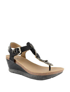 Corkys Black Wedge Sandals