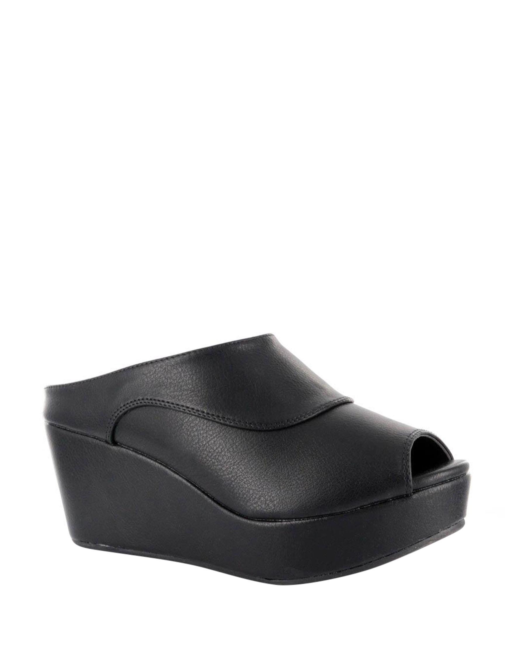 Corkys Black Wedge Sandals