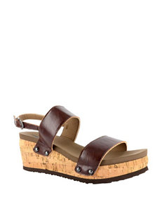Corkys Light Brown Wedge Sandals