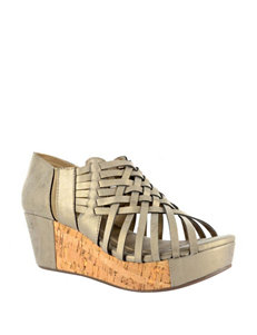 Corkys Yellow Wedge Sandals