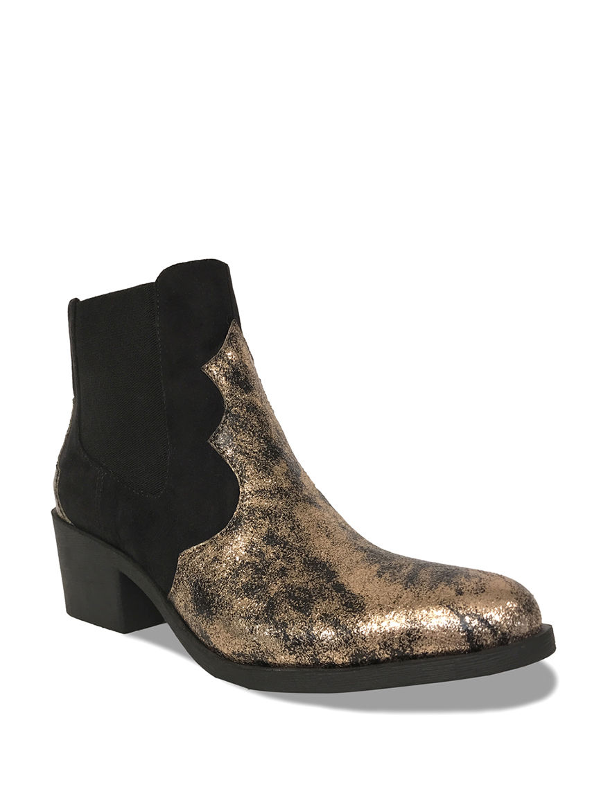 Groove Footwear Gold / Black Ankle Boots & Booties