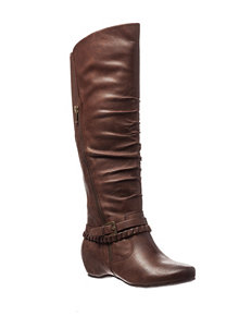 Bare Traps Brown Riding Boots Wedge Boots Wide Calf Comfort