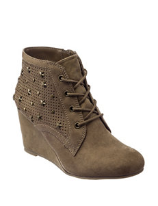MIA Taupe Ankle Boots & Booties Wedge Boots