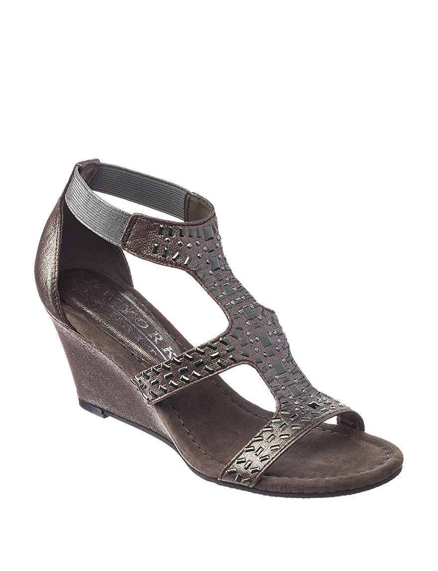 New York Transit Dark Grey Wedge Pumps Wedge Sandals