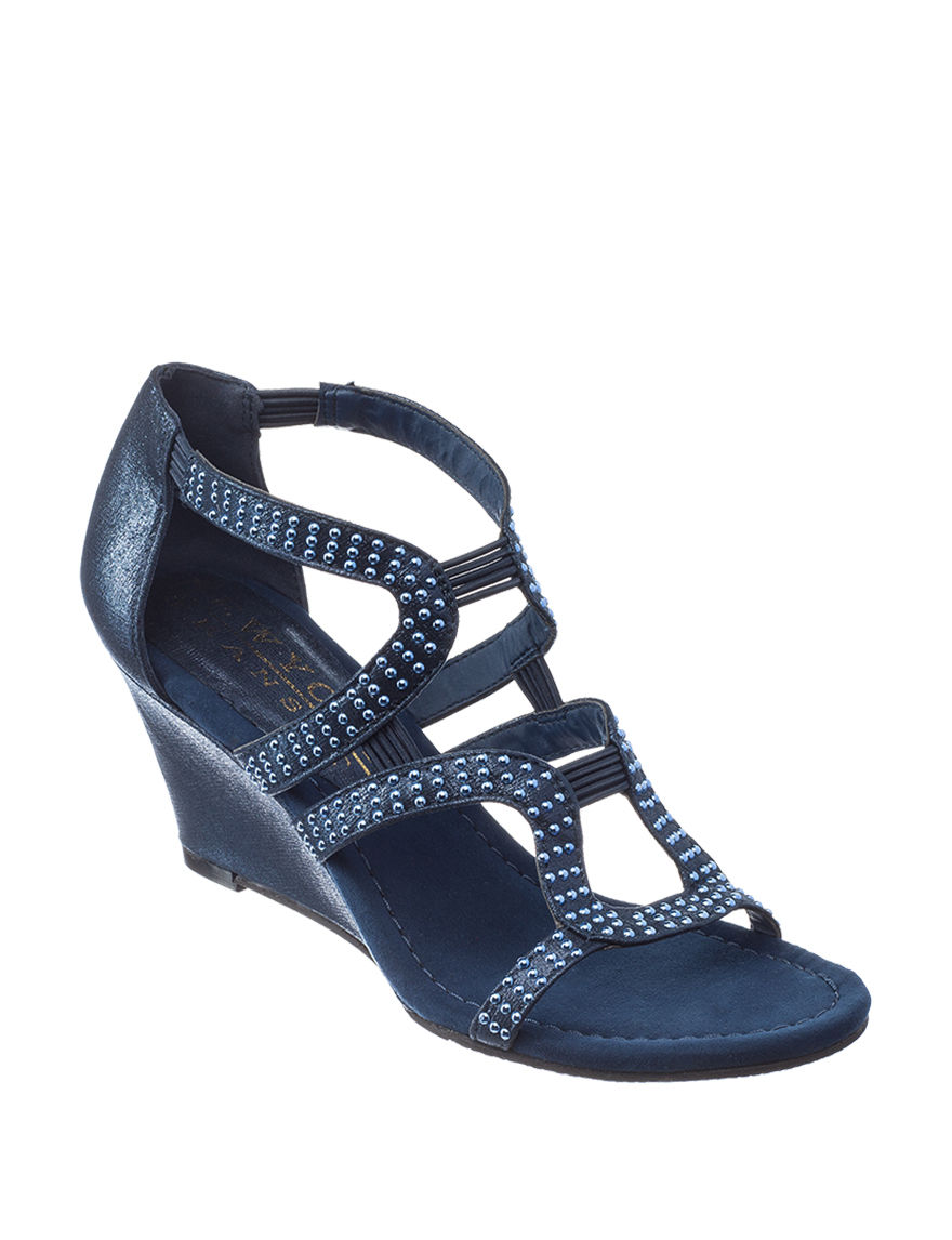 New York Transit Blue Wedge Pumps Wedge Sandals