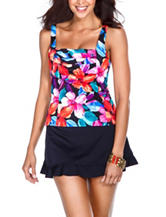 Missy Caribbean Joe Tropical Bliss Pleated Front Tankini