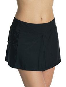 Beach Diva Black Zipper Skortini Swim Bottoms