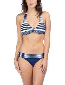 Chaps Stripe Print Ring Front Halterkini Swim Top