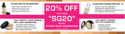 Studio Gear 20 OFF Foundation with code SG20