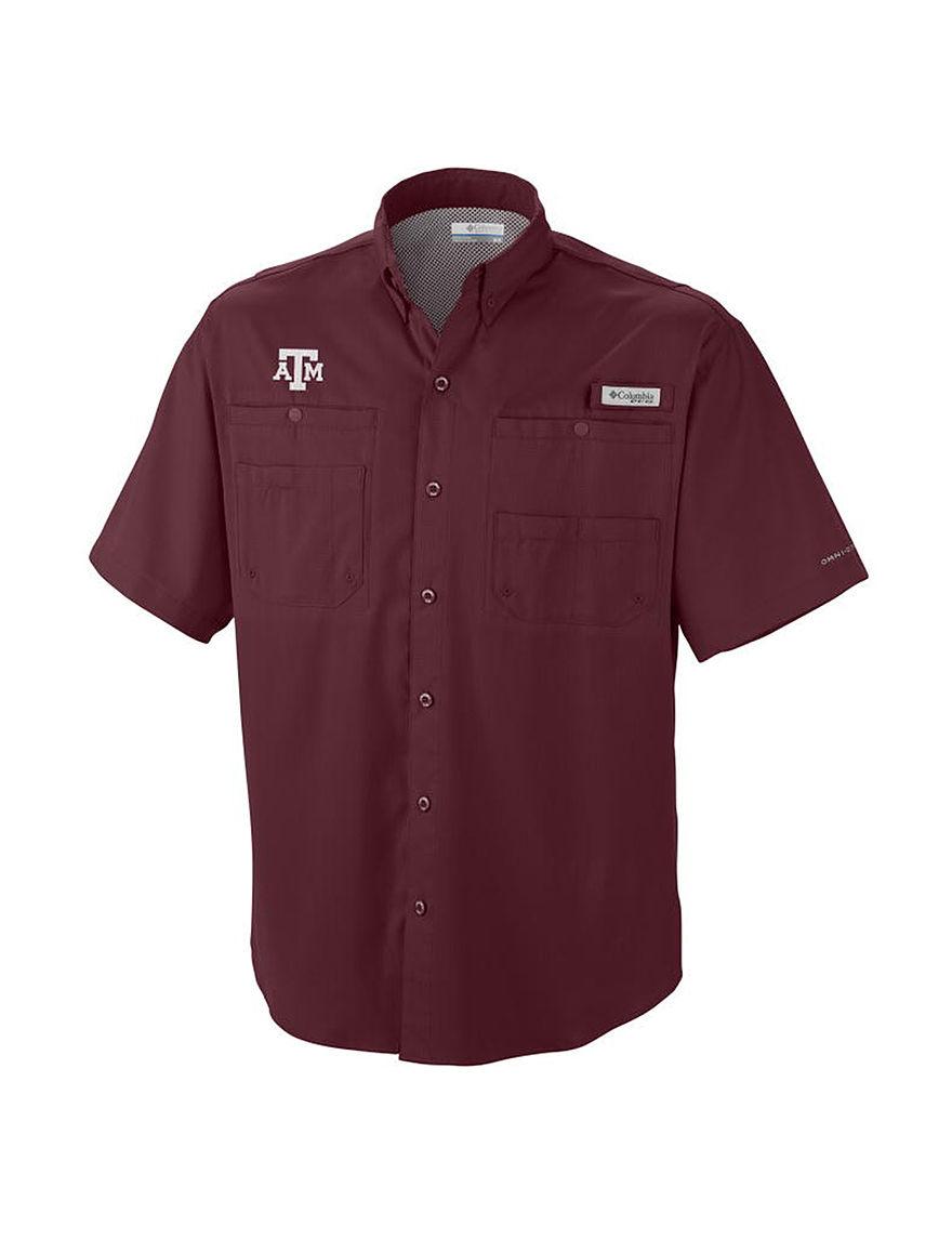 NCAA Maroon Casual Button Down Shirts NCAA