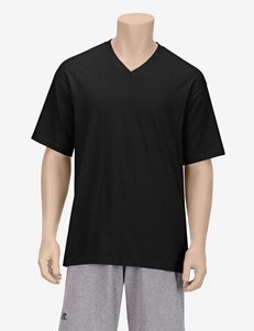 Spalding Solid Color V-Neck T-shirt