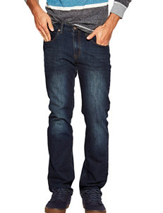 Rustic Blue Dark Indigo Slim Straight Denim Jeans