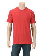 Rustic Blue Solid Color Slub V-neck T-shirt