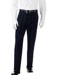 Haggar Solid Color Navy Pleated Pants