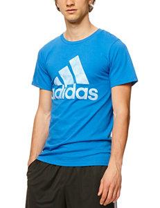 adidas® Solid Color Blue Logo Rumble T-shirt