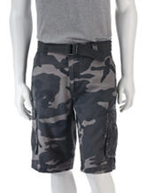 Trilogy Camo Print Belted Twill Cargo Shorts