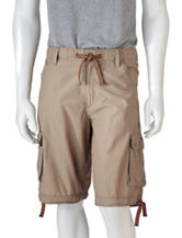Ocean Current Solid Color Canvas Cargo Shorts