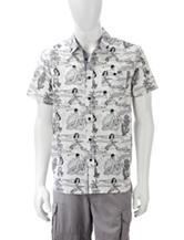 Eighty Eight Black & White Hula Girl & Surfer Woven Print Shirt