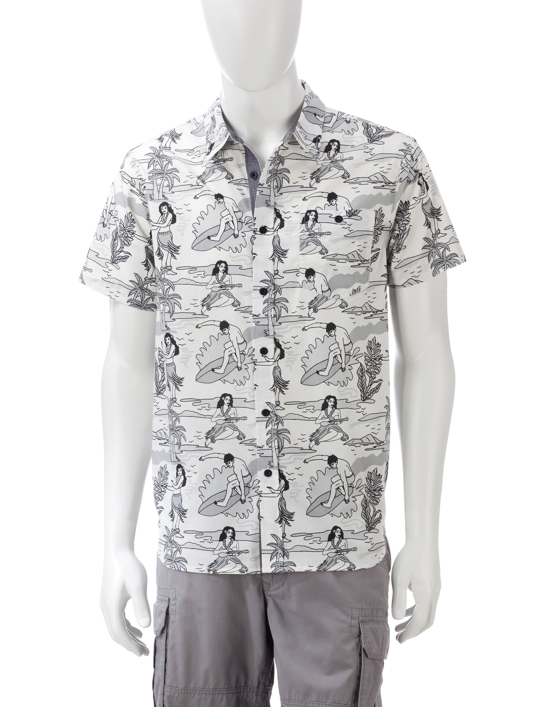 Eighty Eight White / Black Casual Button Down Shirts
