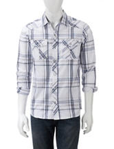 Red Snap Multicolor Madras Plaid Woven Shirt