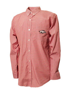 NCAA Red Plaid Casual Button Down Shirts NCAA